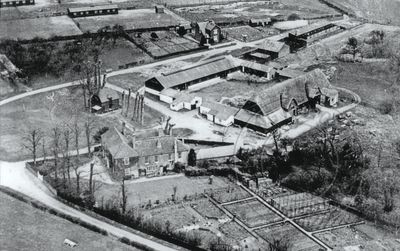 Aerial view of North Stoneham Farm in the 1930s