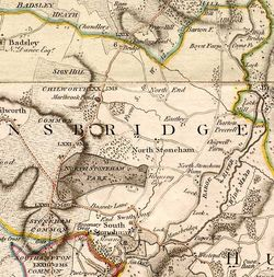 Detail of Stoneham Estate area from: Map of Hampshire surveyed by Thomas Milne, published by William Faden, 1791